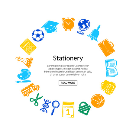Vector back to school stationery in circle shape with place for text illustration