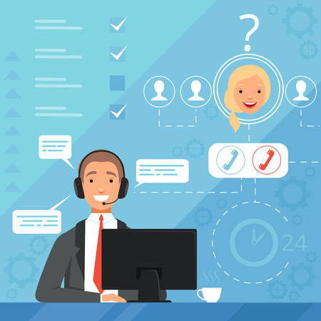 Customer service concept. 24h business online support managers operators complaint vector background illustration. Support service communication, customer help
