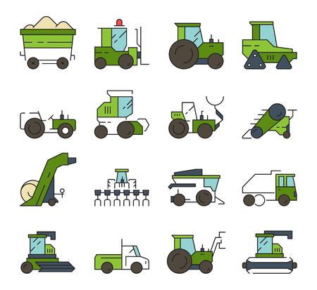 Village transport. Farm machines and technique heavy digger loader bulldozer harvester tractor vector automotive equipment. Illustration of farm bulldozer and digger, industrial equipment