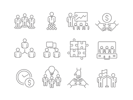 Team building icons. Work group of business people help together coworking participation vector thin line symbols isolated. Vector business team, cooperation and collaborate illustration Stock Illustratie