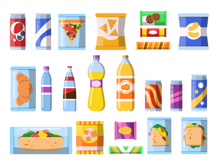 Beverages food. Plastic containers fastfood drinks and snacks candy biscuits chips vector flat illustrations isolated. Candy and beverage, sandwich and drink