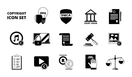 Policy copyright icon. Terms and conditions legal patent compliance standards individual rights protection vector black symbols. Individual copyright and trademark protection illustration Иллюстрация