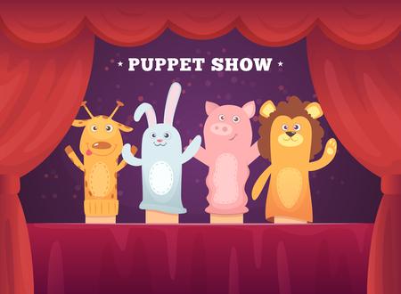 Espectáculo de marionetas. Escenario de teatro de cortinas rojas para niños con juguetes de calcetines para fondo de dibujos animados de manos. Ilustración de espectáculo de marionetas, entretenimiento de muñecas de juguete