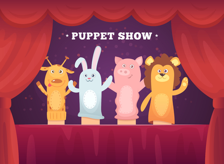 Puppet show. Red curtains theatre performance for kids stage with socks toys for hands cartoon background. Illustration of show puppet, toy doll entertainment