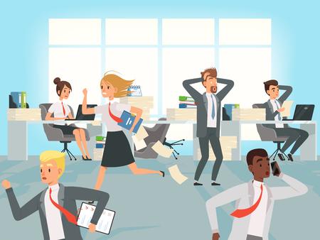 Date limite de bureau. Les chefs d'entreprise stressent de courir sur les lieux de travail au travail des personnages vectoriels. Illustration du stress au bureau, lieu de travail des entreprises