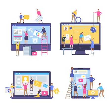 웹 페이지를 만드는 캐릭터. 사람들은 비즈니스 마케팅 장면에서 단순한 양식화된 벡터 삽화로 웹사이트 팀을 장식했습니다. 사람들 팀 만들기 및 프로그래머 웹사이트
