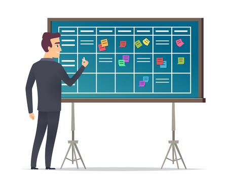 Business schedule board. Businessman standing near checklist and planning teams work plans calendar management vector concept. Businessman plan, business schedule and calendar board illustration