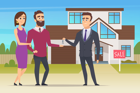 Real estate concept. Family couple buying new house or big appartment sales manager hands over the keys vector characters. Family mortgage, buy property, selling building illustration