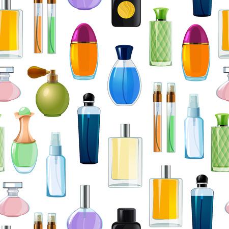 Vector perfume bottles pattern or background illustration. Perfume bottle glamour, fashion fragrance Illustration