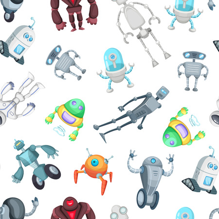 Vector cartoon robots pattern or background illustration. Background pattern robots toy, cyborg futuristic Vettoriali