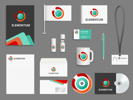 Business identity. Branding realistic vector mockup folder envelope cover for cd blank business cards check boxes usb pen. Illustration of corporate office stationary, brand envelope and flag
