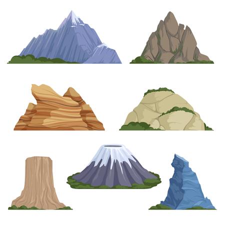 Cartoon mountains. Snow rockies summer terrain outdoor rock landscape vector background isolated. Illustration of mountain terrain, high mountainous