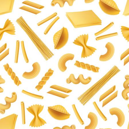 Vector realistic pasta types pattern or background illustration. Pasta background, italian food seamless pattern Illustration