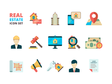 Real estate symbols. Business house rent property home sale manager realtor homeowner insurance building flat vector icons collection. Illustration of rent house, residential mortgage Vettoriali