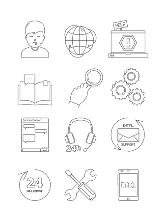 Online support icons. Call center admin computer chat 24h helping customer service fix problems vector linear symbols. Illustration of support service online, contact center help  イラスト・ベクター素材