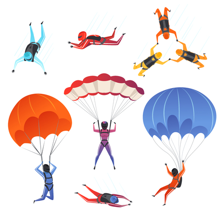 Parachute jumpers. Extreme sport skydiving paragliding male and female sportsmen in sky vector characters. Illustration of jumper and parachuting, skydiver jumping