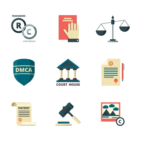 Copyright icons. Business company legal law quality administration policy regulations compliance vector flat colored symbols. Legal law copyright, protection intellectual content illustration Stockfoto - 127258726