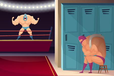 Martialischer Kampfring. Wrestler-Kämpfer Lucha Libre Sport maskierten Vektor-Cartoon-Hintergrund. Illustration von Kampfring, Kämpfer und Wrestling