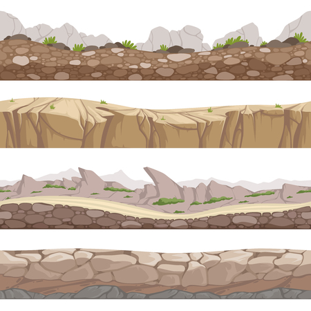Stone road seamless. Rocky game backgrounds with various types of stones vector cartoon collection. Game road landscape, rock interface horizontal illustration