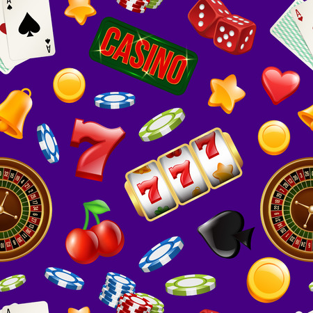Vector realistic casino gamble pattern or background illustration. Gamble luck and casino pattern, chance and fortune Illustration
