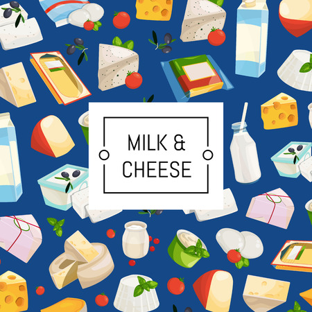 Vector cartoon dairy and cheese products background with place for text illustration. Dairy product, cheese and milk breakfast Ilustração