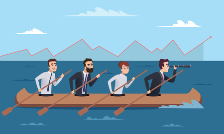 Team destination. Business successful managers group going to leader director vector concept illustrations. Illustration of business leader with team in boat