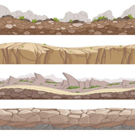 Stone road seamless. Rocky game backgrounds with various types of stones vector cartoon collection. Game road landscape, rock interface horizontal illustration Ilustração