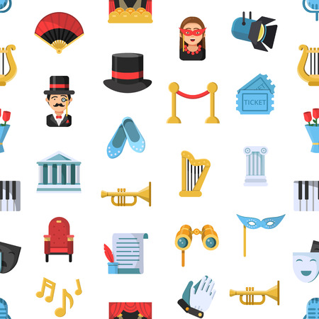 Vector flat theatre icons pattern or background illustration. Theater background, pattern entertainment and show Stock Photo