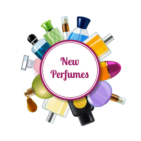 Vector perfume bottles under circle with place for text illustration. Set of bottle perfume vial, colored badge or emblem