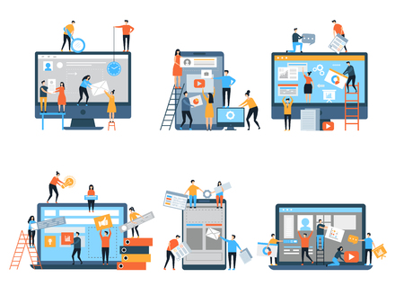 Making site. Web pages under construction seo optimization marketing simple people group business team vector stylized characters. Web programmer making optimization page seo illustration