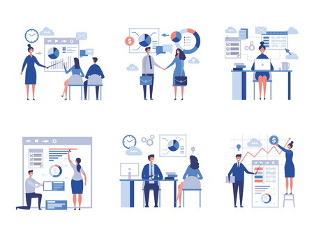 Business scene collection. Oversize abstract office characters managers directors crowd team worked vector businessmen pictures. Office employee, worker teamwork, presentation charts illustration Ilustração