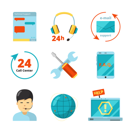 Customer service icon. Support 24h business help call center managers computer chat consultant vector flat symbols isolated. Illustration of support service online, contact center help Illustration