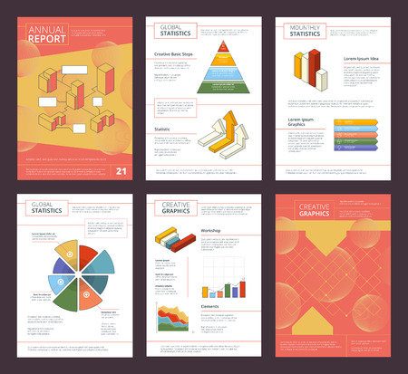 Annual report design. Business buklet pages layout with abstract shapes vector advertisement project. Illustration of presentation project brochure