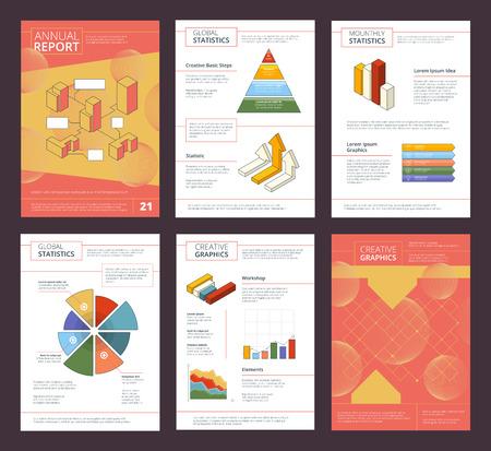Jaarverslag ontwerp. Zakelijke buklet pagina's lay-out met abstracte vormen vector advertentieproject. Illustratie van presentatie projectbrochure