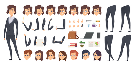 Business woman animation. Creation kit female manager body parts and office tools vector character constructor. Businesswoman and lady business face and pose illustration