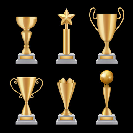 Award trophies realistic. Golden cup sport success star symbols vector 3d illustrations isolated. Gold award and trophy, victory sport