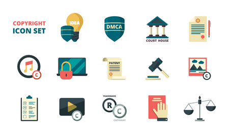 Patent copyright icons. Intellectual property individual personal rights legal regulation quality administration vector symbols. Right copyright and trademark, protection author brand illustration