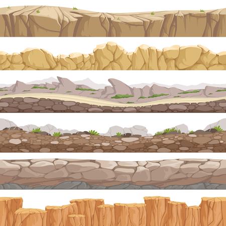 Old rock road seamless. Endless fantastic rockie ground various types games landscape vector backgrounds. Ground scene stony, nature level layer pattern for gui illustration Ilustração