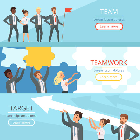 Business team banners. Managers partners collaboration at work to the big goal team building conceptual vector characters. Teamwork management, collaboration strategy and partnership illustration Vettoriali