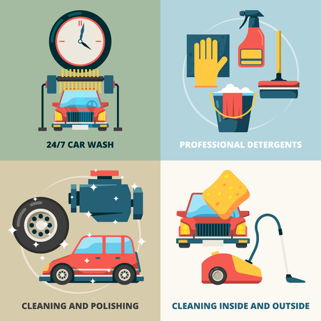 Car dry cleaning. Water wash service foam sponge auto spray vector concept pictures. Illustration of auto and car, wash and sponge