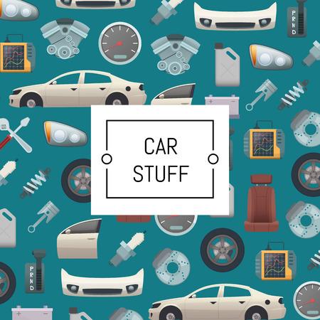 Vector set of car parts background illustration. Auto service repair, car stuff