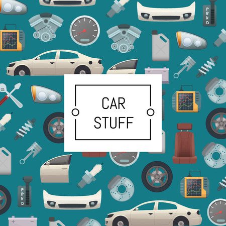 Vector set of car parts background illustration. Auto service repair, car stuff