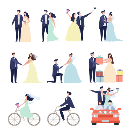Wedding ceremonial bundle. Marriage love couples happy characters bride preparation celebration vector characters male female. Illustration of couple husband and wife, ceremony marriage wedding