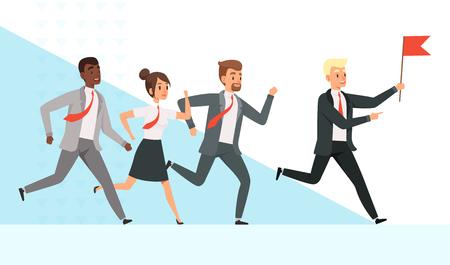 Geschäftsleute laufen. Arbeiter Manager männlich weiblich geht mit ihrem Mentor Leader Director Red Flag Hand Leadership Vector Concept. Führergeschäft mit Flagge, Führungsmann-Managerillustration
