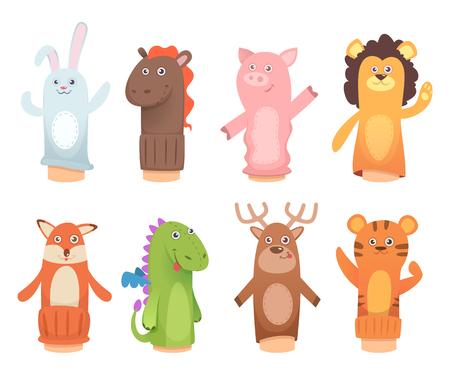 Marionetas de dibujos animados. Muñecas de calcetines en manos y juguetes de marionetas de dedos para niños vector personajes divertidos. Ilustración de juguetes de títeres de león y dinosaurio, zorro y tigre