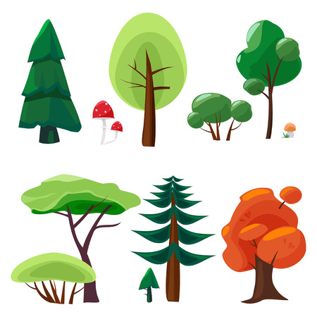 Nature elements collection. Game ui set of plants stones trees moss nature vector cartoon symbols isolated. Green tree forest and mushroom illustration