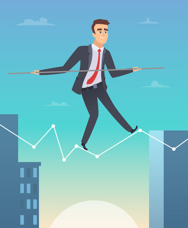 Businessman balancing. Concept picture of happy worker manager going to success personal challenges vector cartoon illustration. Businessman balance tightrope, walk to achievement