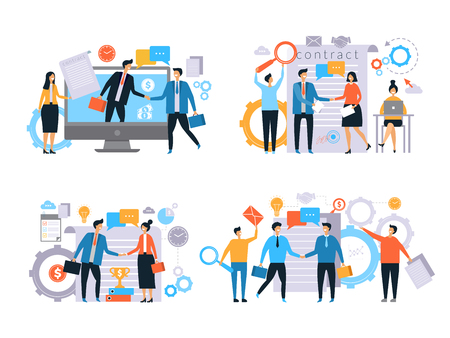 Business relationships. Investors handshake finance contract work business transactions managers male female working vector flat. Illustration of agreement and partnership success, handshake deal Vector Illustration