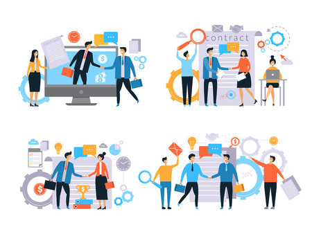 Business relationships. Investors handshake finance contract work business transactions managers male female working vector flat. Illustration of agreement and partnership success, handshake deal Imagens - 126731260