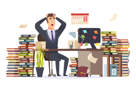 Overworked businessman. Stressed frustrated director manager hard work sitting office table pile papers documents vector character. Illusstration of office employee busy and overworked 矢量图像